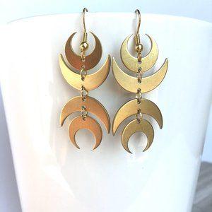 Crescent Moon symmetrical brass earrings